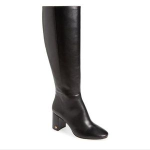 TORY BURCH Kira Black Smooth Leather Tall Boots